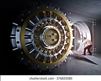 man with flashlight and vault bank door