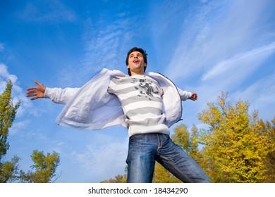 Man flies in the sky