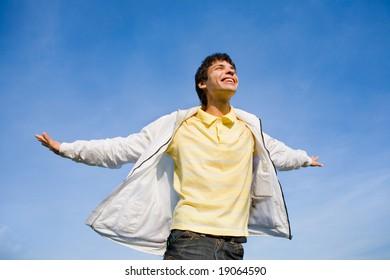 Man flies in sky