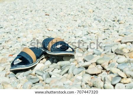 3b0f67e1d6823 Man Flip Flops Sandals On Pebble Stock Photo (Edit Now) 707447320 ...