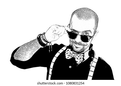 Man flirting concept with black and white pop art comic book cartoon of handsome hipster male looking over the rim of the glasses, isolated on white with a clipping path cutout