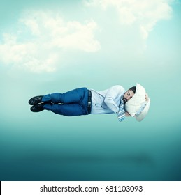 Man floating in mid-air while sleeping.