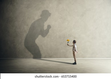Man with flowers making peace with his shadow