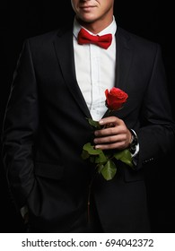 man with flower.young groom man in suit.elegant boy