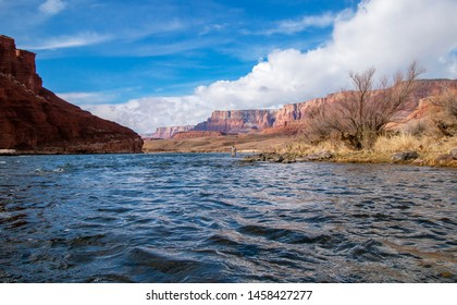 Man Fly Fishing On The Colorado River Near Lees Ferry, AZ with Vermillion Cliffs in background.