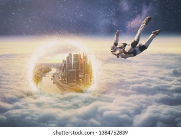 Man flying above the clouds under the milky way through a portal to Moscow city digital art photo manipulation