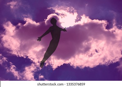 The man is flying in dreams through the cloudy night sky. The opened  arms. Freedom and dreaming concept