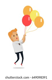 Man flying on color balloons. Frightened man flying holding balloons bunch filled with helium flat  isolated on white background. Preparing for holiday concept. For festive agency ad