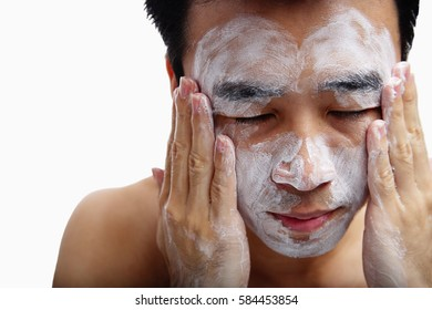 Man with foam on face