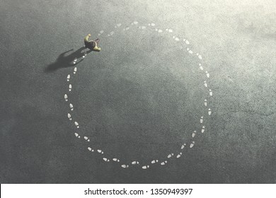 man following his footsteps in circle; life concept