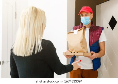 Man food delivery in an apartment