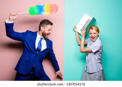 Man force girl to clean up. Gender inequality start from household. Gender discrimination. Gender inequality concept. Professional education and careers. Woman choose to work digital technology.