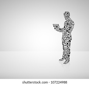 man in form of media icon holding notebook