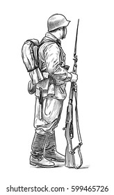A man in the form of a soldier of the Second World War