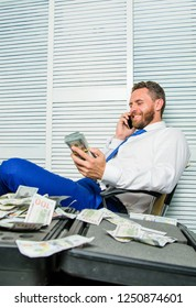 Man fraudster speak mobile phone ask for money. Financial fraud crime. Man earn money on mobile conversation fraud. Blackmail and money extortion. Illegal money profit concept. Successful deal.