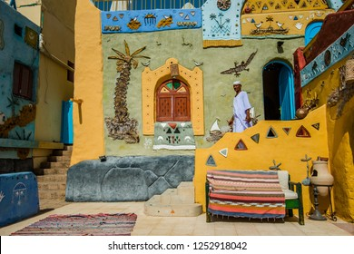 A man in front of the house, Aswan, South Egypt, August 2015