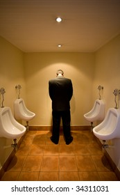Man in front of urinal