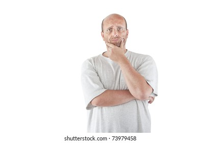 Man frowning - isolated over white