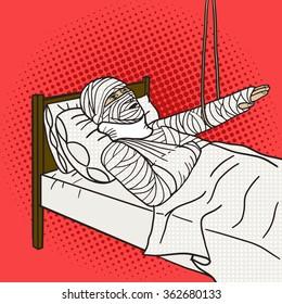 Man with full body orthopedic cast pop art style raster illustration. Comic book style imitation.