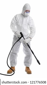 man in full protective clothing using pressure washer on white background