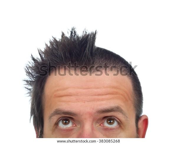 Man Funny Haircut Looking His Half | People, Stock Image