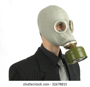 the man in a gas mask