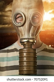 Man in gas mask against urban background