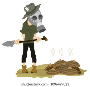 Man in the gas mask, spade and dunghill illustration. Farmer in the gas mask with a spade stays near a dunghill isolated on white illustration