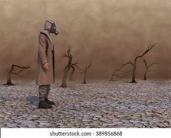 Man with gas mask in a wasteland