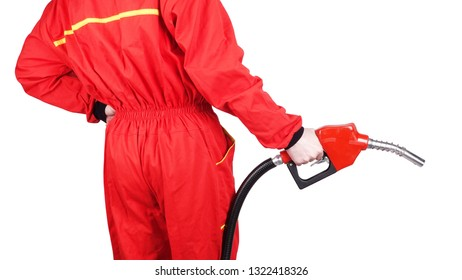 Man gas station staff  is holding red gasoline pistol pump fuel nozzle rear view from back