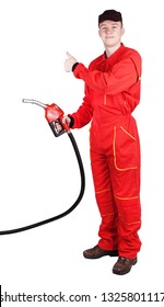 Man gas station staff  is holding red gasoline pistol pump fuel nozzle with thumb up sign gesture
