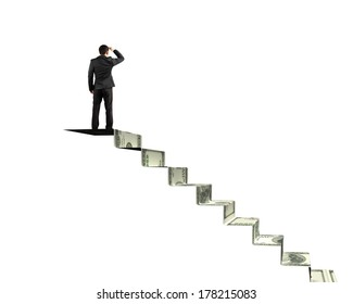 Man gazing on top of money stairs in white background
