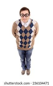 man geek full length, isolated