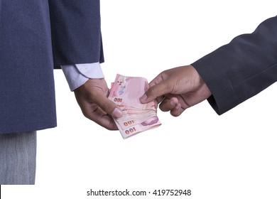 Man gently takes a bribe