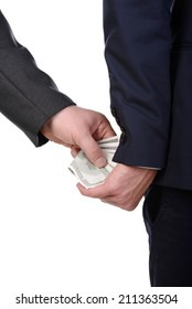 Man gently takes a bribe isolated on white background