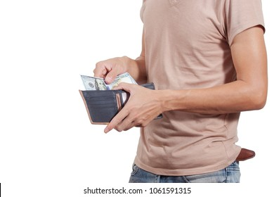 Man gets money from the wallet. Empty wallet isolated on white background