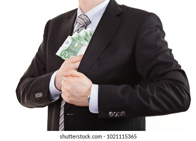 Man getting behind euro money into his pocket