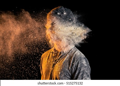 Man getting hit by Flour