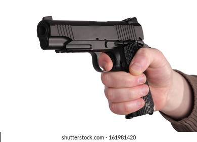 man, getting on the hip a pistol, on a white background