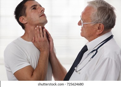 Man getting thyroid gland control. Health care and medical concept.