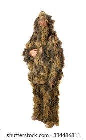 Man in Ghillie suit isolated on white