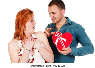 Man gives his girlfriend a present for Valentine
