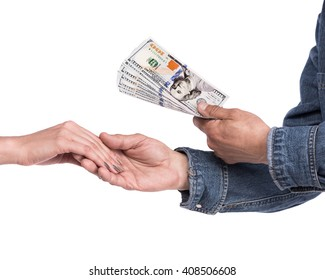 Man  giving dollar bills to woman on a white background. Close up