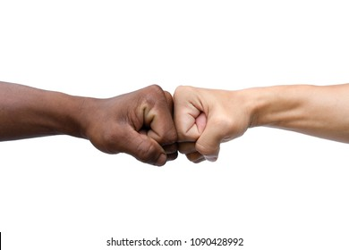 Man giving fist bump isolated on white background with clipping path.