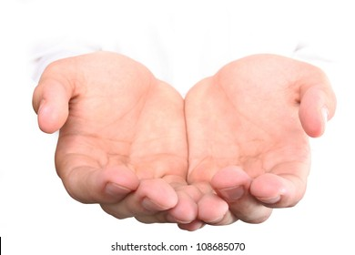 man giving hands isolated on white background