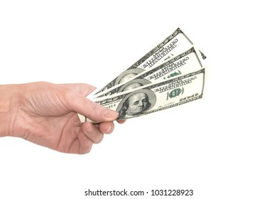 Man giving money isolated on white background with clipping path. Bribery and corruption concept.