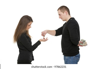 Man is giving money to the woman