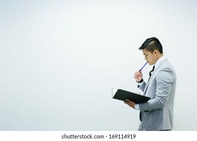 man giving presentation on white background