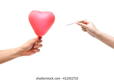 man giving a red heart balloon to a woman with a big pin / Rejection in love concept