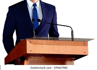 Man Giving Speech at Seminar